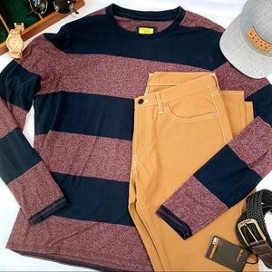 Prince & Fox Fitted Long Sleeve Striped Ringer Tee